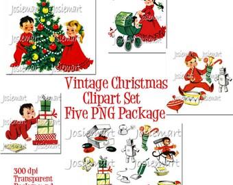 Vintage Digital Download Christmas Children Clipart Pack Vintage Collage Large  5 PNG Images