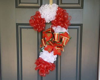 Red and white Christmas Candy Cane Wreath