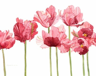 Pink Parrot Tulip Field Watercolor Reproduction