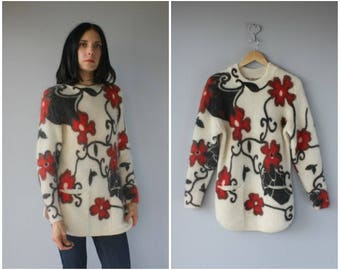 Vintage 1980s Sweater | 80s Sweater | Mohair Sweater | Floral Print Sweater | Wool Sweater - (small/medium)