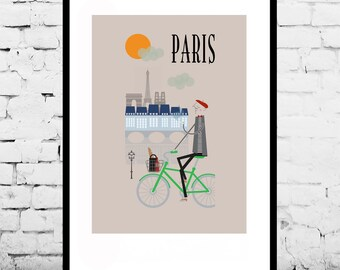 Paris Print A4/A3/A2 poster wall art decor fun retro design city of Paris France parisian life illustrated eiffel tower