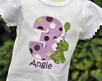 Personalized Girls Birthday Trex Dinosaur Ruffle Shirt / Design Your Own