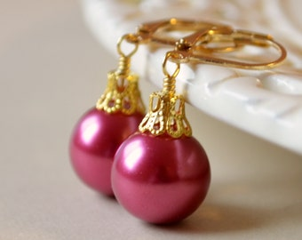 Raspberry Glass Pearl Earrings, Christmas Balls, Gold Plated Lever Earwires, Fun Holiday Jewelry