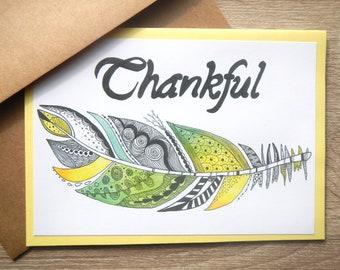 Zentangle Thankful Feather Greeting Card