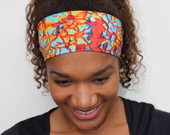 Headbands for Women: Red/Orange Print Yoga Headband, Wide Headband, Running Headband, Workout Headband, Fitness Headbands, Non Slip Headband