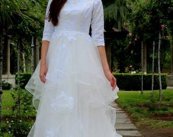 Alexandra Tznius Modest Wedding Dress with Sleeves - Modest Wedding Dress with Sleeves - Ivory & White Lace Wedding Gown - LDS Wedding Gown