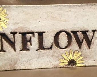 15 1/2 x 5 Rustic concrete garden stone /Sunflower garden stone/garden decor
