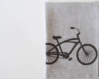 Linen Tea Towel - Cruiser Bike - Choose your fabric and ink color