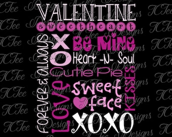 Valentine Love Subway Art - Valentine's Day - SVG Design Download - Vector Cut File