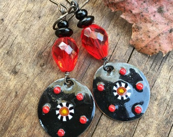 Black and Red Earrings Gypsy Chic Earrings Bohemian Jewelry Enameled Copper Charms One of a Kind Earrings