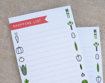 illustrated shopping list notepad with magnetic back