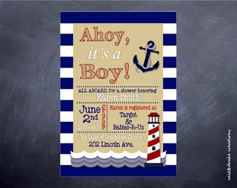 Ahoy It's a Boy Baby Shower Invitation Digital Printable!