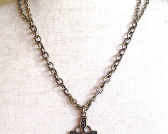 Antique Bronze Cross Necklace - The Crusader