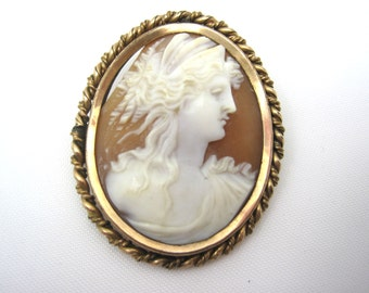 Antique Cameo Brooch - 1800s Carved Shell