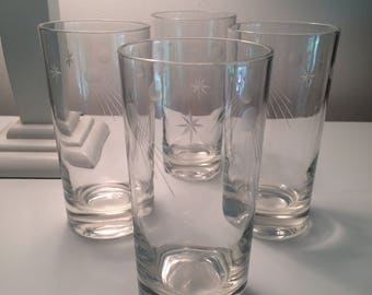 Vintage Etched Moon and Shooting Star High Ball Barware Bar Ware Glasses Set 4 1950s 1960s