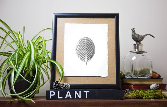 Plant | Original Handprinted Botanical Monotype Print | Viridifolius by Etsy