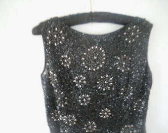 Dark Navy and Ivory Beaded Top