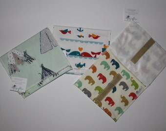 Large Reusable Sandwich Bag, Snack Bags, Eco Friendly Kitchen Bag, Snack on the go, PUL Lined Bag