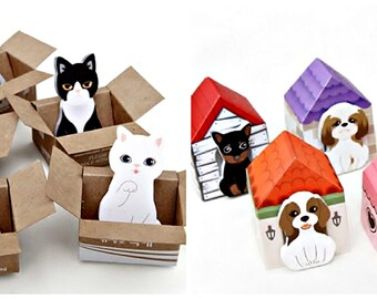 Kawaii Harajuku Post it Notes Sticky Memo Cat Dog Unique Cute Birthday Goodie Goody Bag Party Favor Animal Theme Stationery