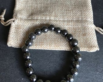 Handmade 8mm Non Magnetic Synthetic Hematite Stretch Cord Bracelet