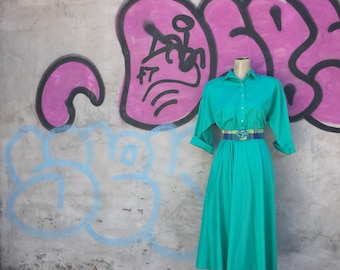 Vintage 1980s Teal Shirt Waist Belted Dress (Size Medium)