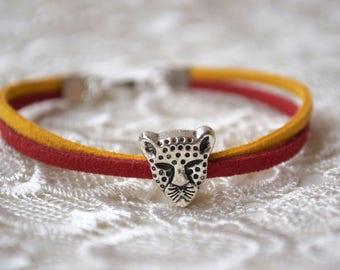 Safari charm bracelet leather Leopard pandora cheetah Silver Unisex animal lover gift nature African Africa Asia Wrap hunter gift mens gift