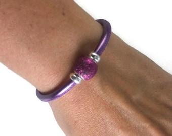 Purple Leather Bangle, Sterling Silver Bracelet, Womens Leather Bracelet, Leather Bangle Bracelet, Womens Leather Jewelry, Womens Bracelet