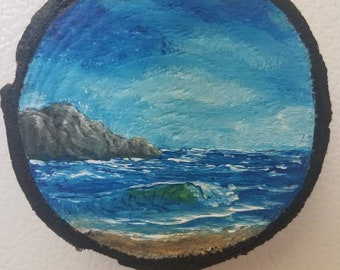 Hand Painted Wood Slice Magnet, Oil Painting, Fridge Magnet, Original Art, Small Painting, Nature Gift