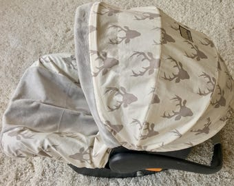 Ivory and Grey Deer Infant Car Seat Cover, Grey Car Seat Cover, Baby Boy Car Seat Cover, Ivory Car Seat Covers, Infant Covers