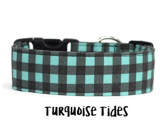 Teal Dog Collar, Teal Plaid Dog Collar, Turquoise Plaid Dog Collar, Lumberjack Dog Collar, Plaid (Add Upgrade for Metal Buckle/Martingale)
