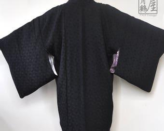 Silk haori/japanese kimono jacket/vintage authentic short kimono robe/kimono cardigan/oriental boho jacket/duster coat