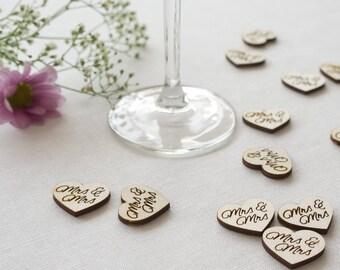 Wedding table confetti. Rustic boho wooden scatter 'Mrs & Mrs' engraved hearts. Gay lesbian wedding Civil Partnership LGBT L75