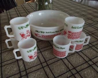 Vintage Hazel Atlas Christmas Tom & Jerry Auld Lang Syne Milk Glass Set Bar Ware Holiday Bowl Set