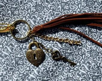 "Key Chain, clip-on bag, or zipper charms, tassel  4.5""  total length 7.5"""