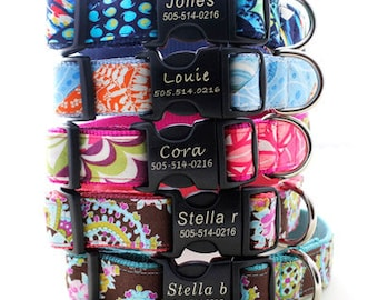 Lazer Etched Personalized Classic Cotton Dog Collar - 15 styles to choose from
