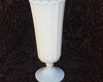 Vintage Tall Milk Glass Vase on Pedestal with Scalloped Edge and Foot - Wedding Decor - Centerpiece