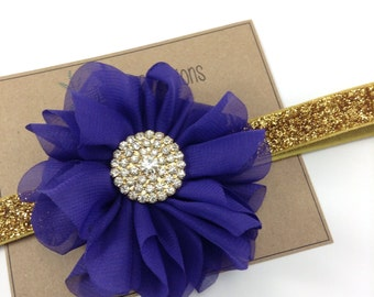 Purple & Gold Headband Headband Ballerina Flower Headband Glitter Wedding Flower Girl Headband Rhinestone