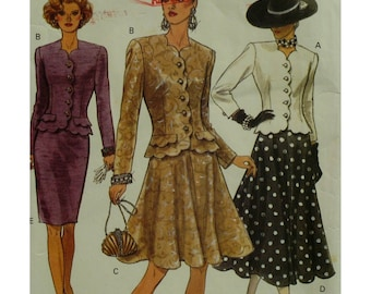 Scalloped Suit Pattern, Fitted Jacket, Straight/Flared Skirt, Long Sleeves, Scalloped Hem, Neck and Front, Vogue No. 8482 Size 8 10 12