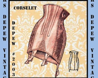 Vintage Sewing Pattern French Corselet Ladies 1950's Multisize Waist Cincher PDF -INSTANT DOWNLOAD-