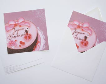 "Card ""Happy birthday"" - CAROLINE new"