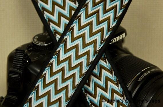 """Camera Strap Zig Zag Blue Brown in 1.5"""" Wide Custom Padded Fits DSLR SLR 2792"""