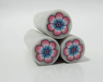 Polymer Clay Pink and Blue Flower Cane