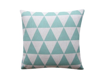 "Mint Triangles Pillow Cover, Geometric Cushion, 18"" x 18"" Decorative Pillow Cover Cushion Cover Kids Room Throw Pillow 122"