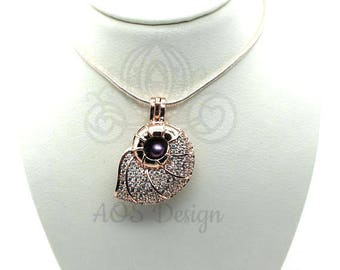 Nautilus Shell Pick A Pearl Cage Rose Gold Plated Mermaid Beach Treasure Crystal Accents