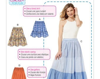 Sewing Pattern Misses' Pull-On Gathered Skirts w/Tier & Length Variations, McCall's Pattern 7604, Summer Skirts, Womens Plus