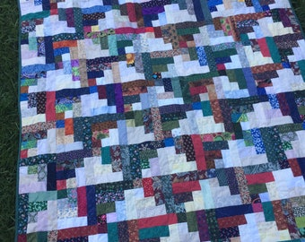 """Handmade quilt, scrappy quilt, log cabin quilt, Patchwork, quilted throw, 53"""" x 65"""""""