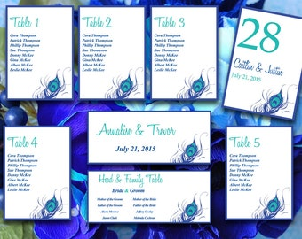 """Peacock Wedding Seating Chart Template Download - """"Peacock Feather"""" Horizon Blue Teal Table Number - Wedding Reception Chart"""