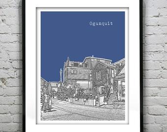 Ogunquit Skyline Poster Art Print Maine ME Version 2
