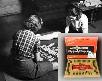Unusual Vintage 1950s Autobridge Solitare Bridge Game, Complete in Original Box