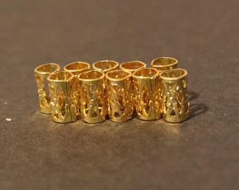 30 Micro Gold Dreadlock Beads - Dread Cuffs Hair Beads 4mm Hole  (3/16 Inch) & FREE Tibetan Silver Bead